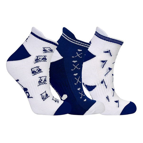 Ladies golf socks - pack of three pairs - Navy and white golf designs