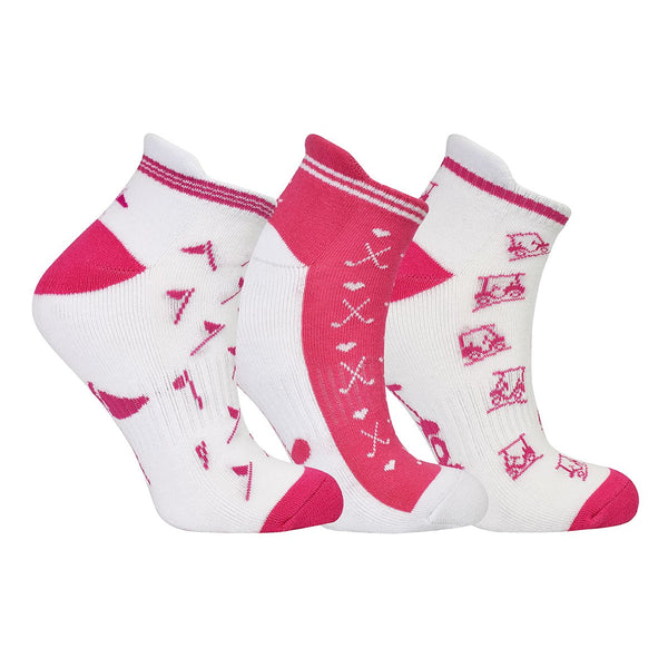 Ladies golf socks - pack of three pairs - Pink and white golf designs