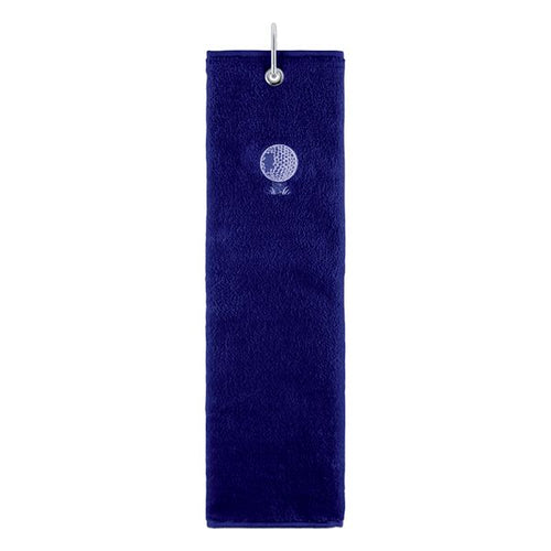 Tri-fold towel - navy (embroidered ball/tee)