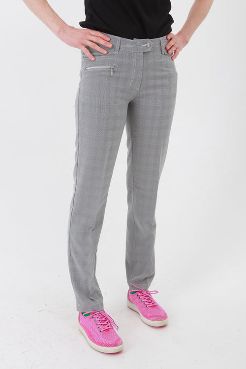 Such a comfortable fit for the ladies golf season. Ladies Golf trousers in a stylish prince of wales check are perfect for your ladies golfing wardrobe.    Matched with the JRB Ladies Golf shirts in various stunning designs and you will look amazing when out doing your Daily Sports.