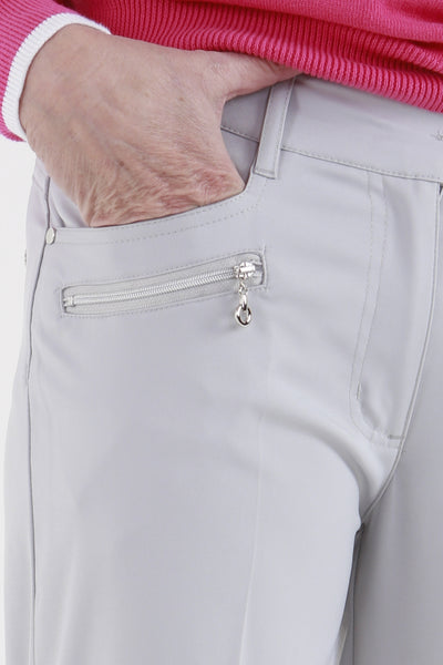 Such a comfortable fit for the ladies golf season. Ladies Golf trousers in a stylish light grey are perfect for your ladies golfing wardrobe.    Matched with the JRB Ladies Golf shirts in various stunning designs and you will look amazing when out doing your Daily Sports.