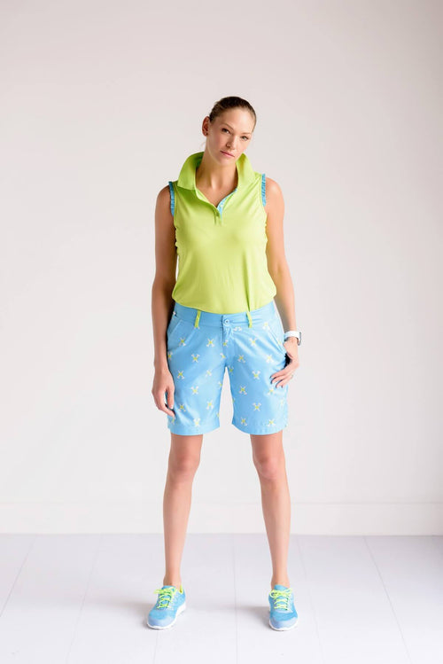 Birdies & Bows Ladies Golf Resort and ruffles polo - Lime/aqua