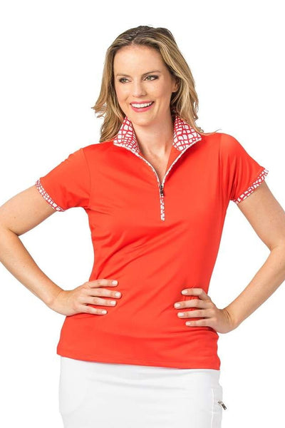 Nancy Lopez Wild short sleeved polo - Fiery Red/White