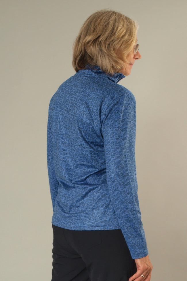 JRB 1/4 zipped roll neck top - amparo blue print
