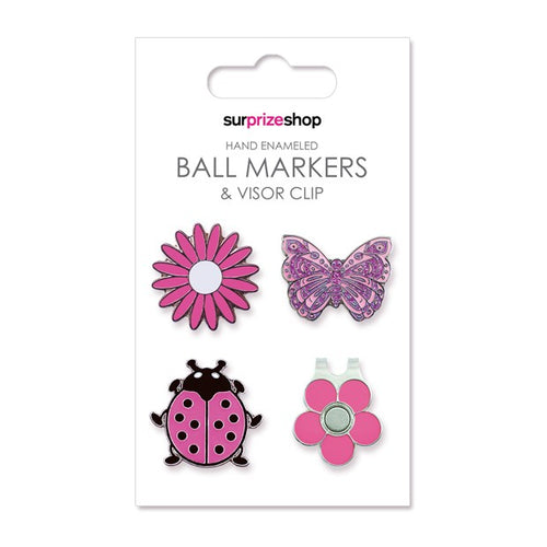 Ball marker & visor clip set - Country garden