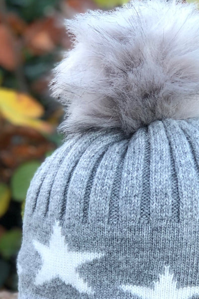 Cosyhead Ella faux fur star bobble hat - Grey