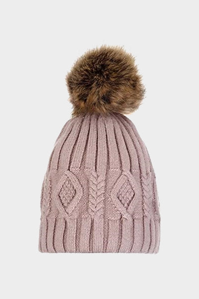 Cosyhead Isla faux fur cable bobble hat - Latte