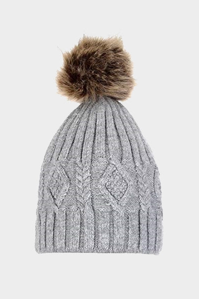 Cosyhead Isla faux fur cable bobble hat - Grey