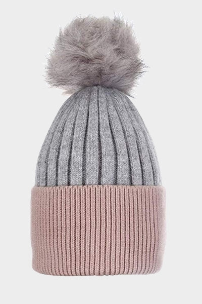 Cosyhead Hannah faux fur ribbed bobble hat - Grey/dusky pink