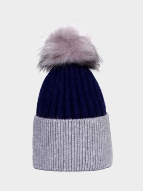Cosyhead Hannah faux fur ribbed bobble hat - Navy/grey