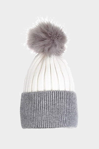 Cosyhead Hannah faux fur ribbed bobble hat - Cream/grey