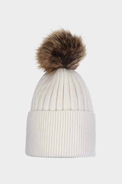 Cosyhead Hannah faux fur ribbed bobble hat - Cream