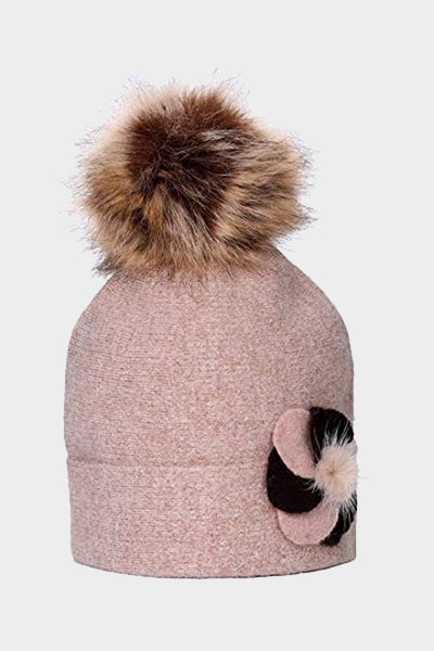 Cosyhead Ruby faux fur flower bobble beanie - Dusky brown