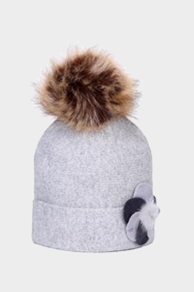 Cosyhead Ruby faux fur flower bobble beanie - Grey