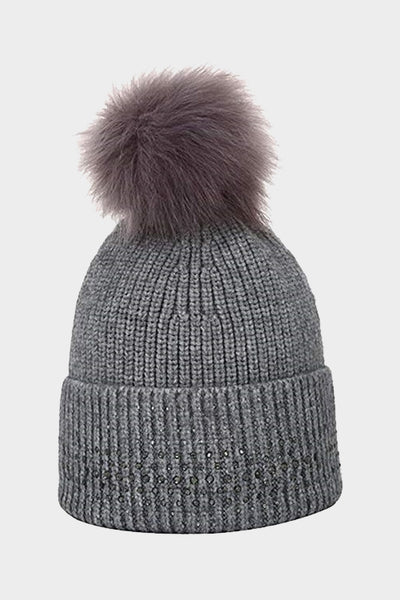Cosyhead Lena faux fur ribbed sparkle bobble hat - Grey
