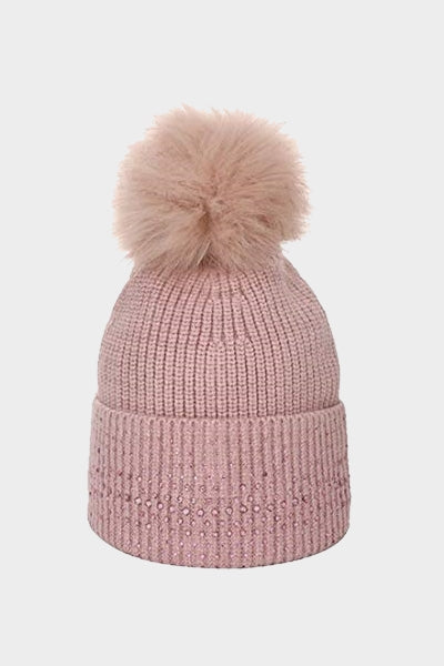 Cosyhead Lena faux fur ribbed sparkle bobble hat - Pink