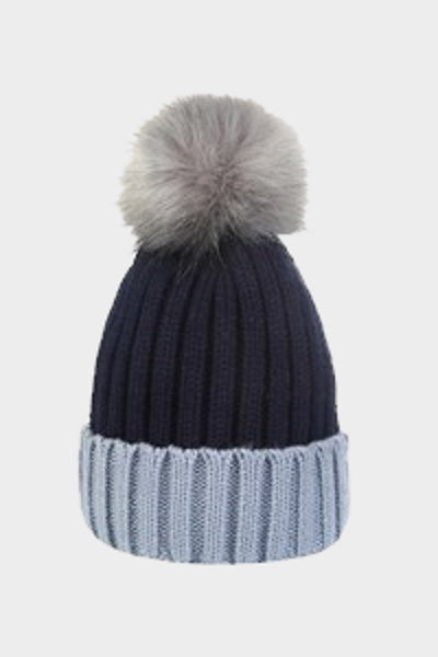 Cosyhead Sophie faux fur ribbed bobble hat - Navy/grey