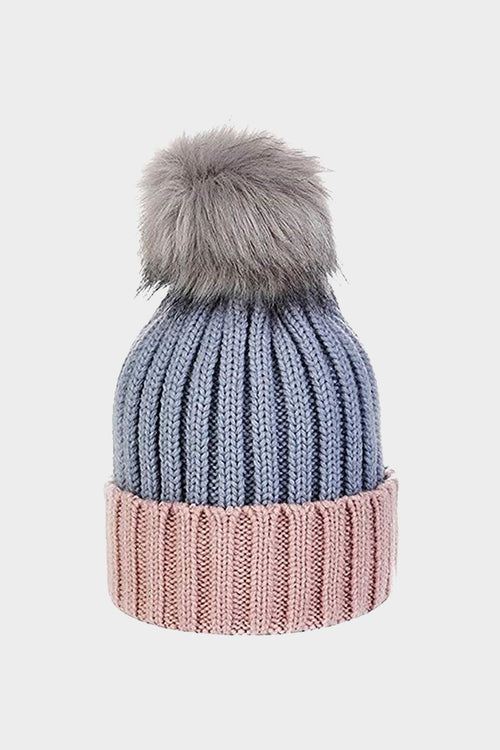 Cosyhead Sophie faux fur ribbed bobble hat - Grey/pink