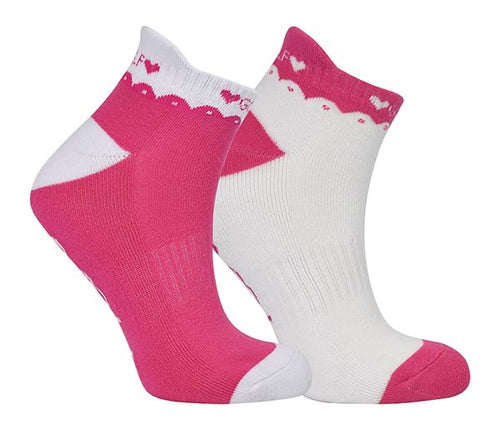 Ladies golf socks - pack of two pairs - Pink and white golf designs