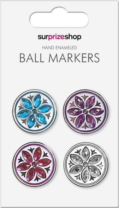 Ball marker set - crystal flowers