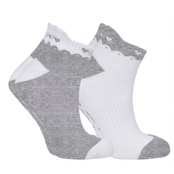 Ladies golf socks - pack of two pairs - Grey and white golf designs