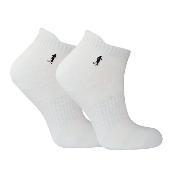 Cushioned ladies sports socks - white with black lady golfer