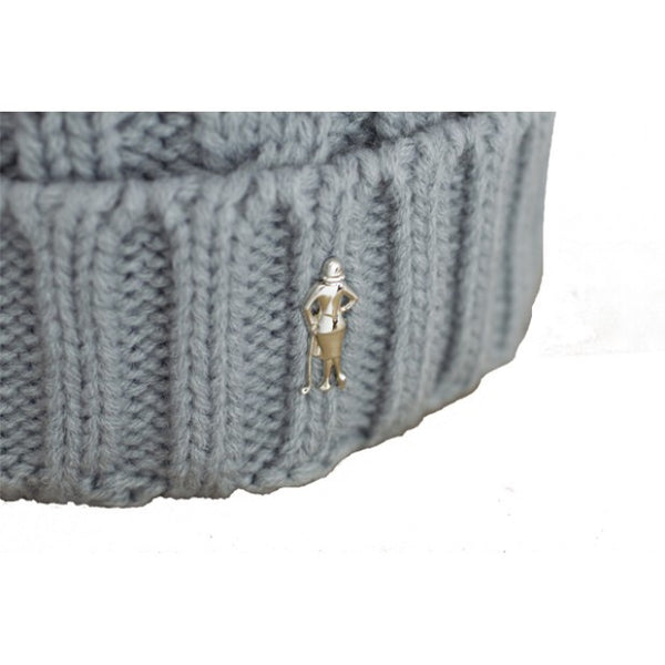 Cable bobble hat - grey