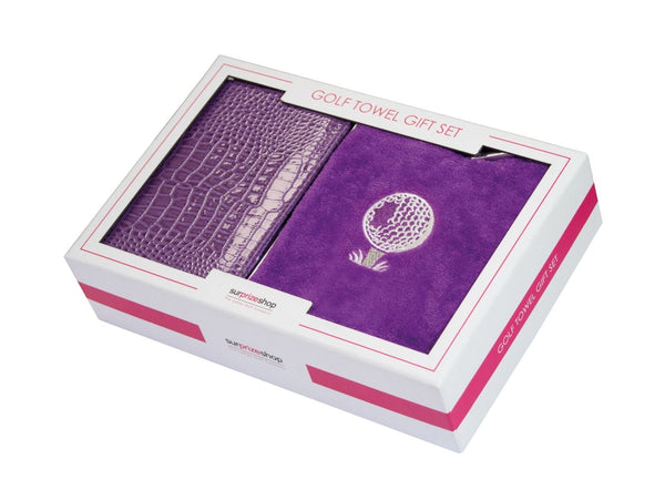 Scorecard holder and towel gift set - purple