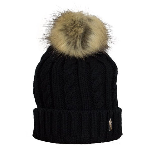 Cable bobble hat - black