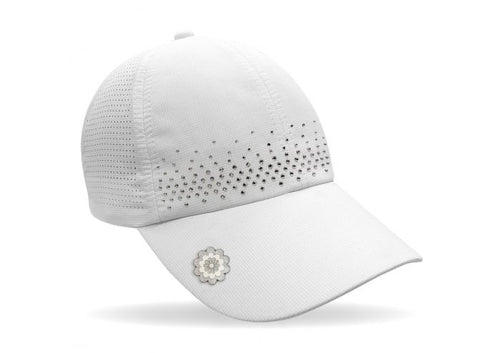 Magnetic soft fabric Golf Cap - White with jewel detail