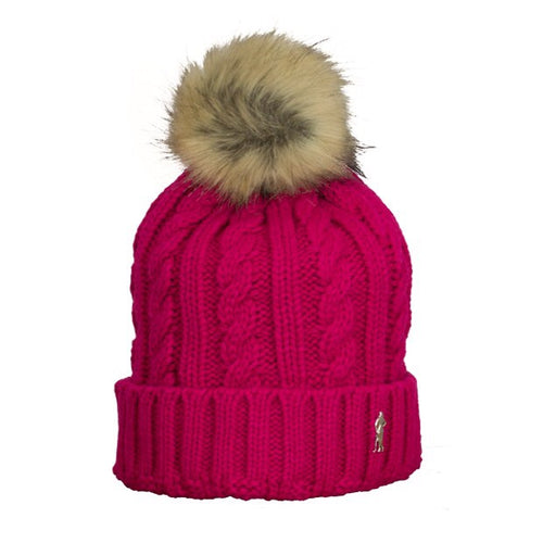 Cable bobble hat - raspberry