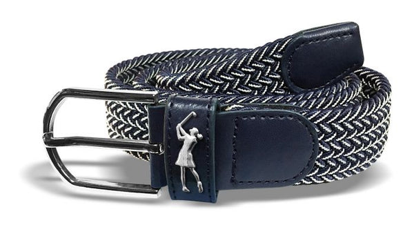 Two tone Woven golf belt - Navy and White