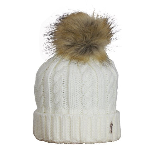 Cable bobble hat - winter white