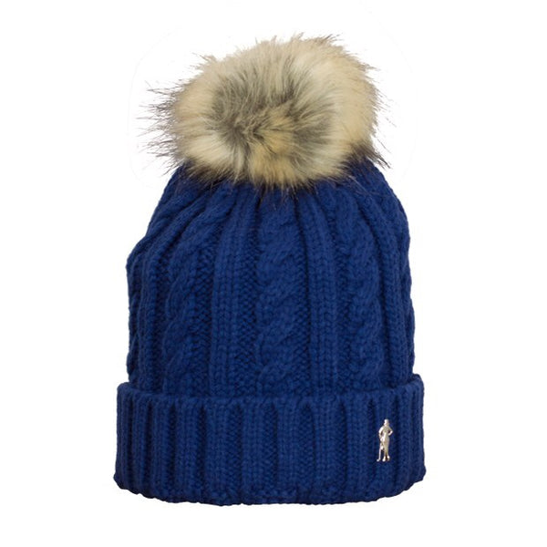 Cable bobble hat - navy