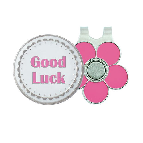 Ball marker & visor clip - Good luck (gift boxed)