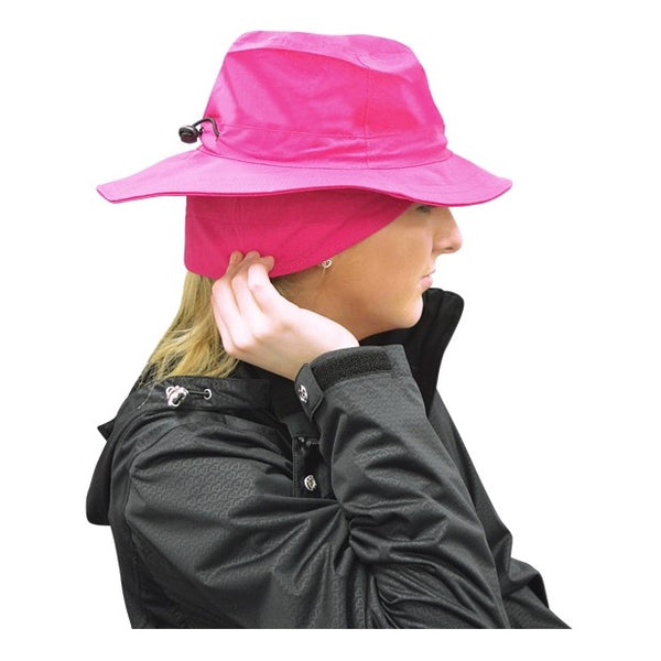 Fleece lined waterproof rain hat - pink