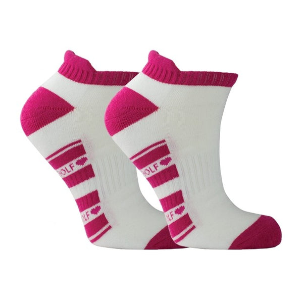 Cushioned ladies sports socks - white with raspberry trim
