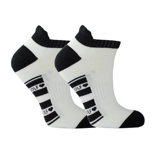 Cushioned ladies sports socks - white with black trim