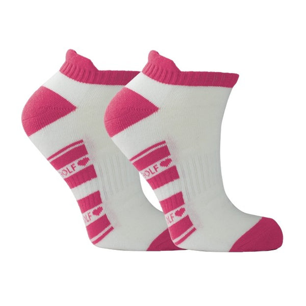 Cushioned ladies sports socks - white with pink trim