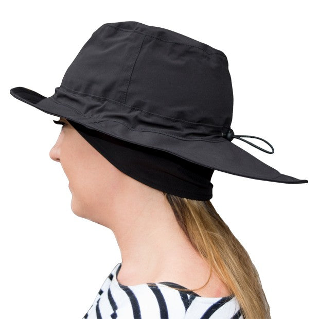 Fleece lined waterproof rain hat - black