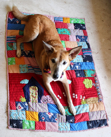 Lana Paws red patchwork dog mat