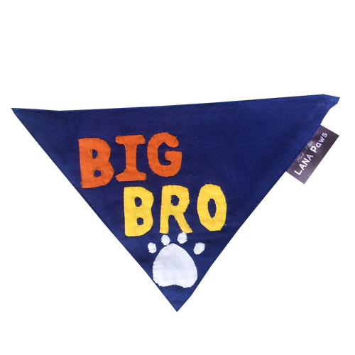Big Bro (Blue) - Handmade Patchwork Slip-on Dog Bandana