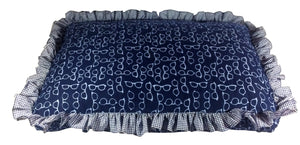 Dog Bed in High-Quality Cotton Cover and Water-Resistant Cushion - Blue Frames