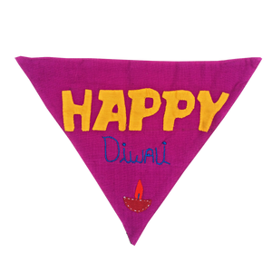 Happy Diwali - Handmade Patchwork Slip-on Dog Bandana (Limited Edition)