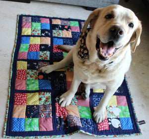 Navy Blue Patchwork & White Paw-prints Cotton Summer Mat - Large