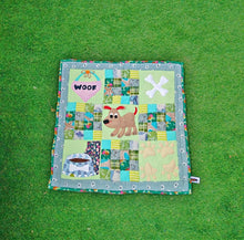 Handmade Applique Work Dog Mat/ Dog Blanket in Pastel Green