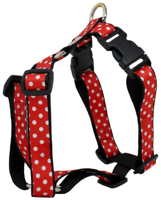 Polka dots red H harness for dogs Lana Paws