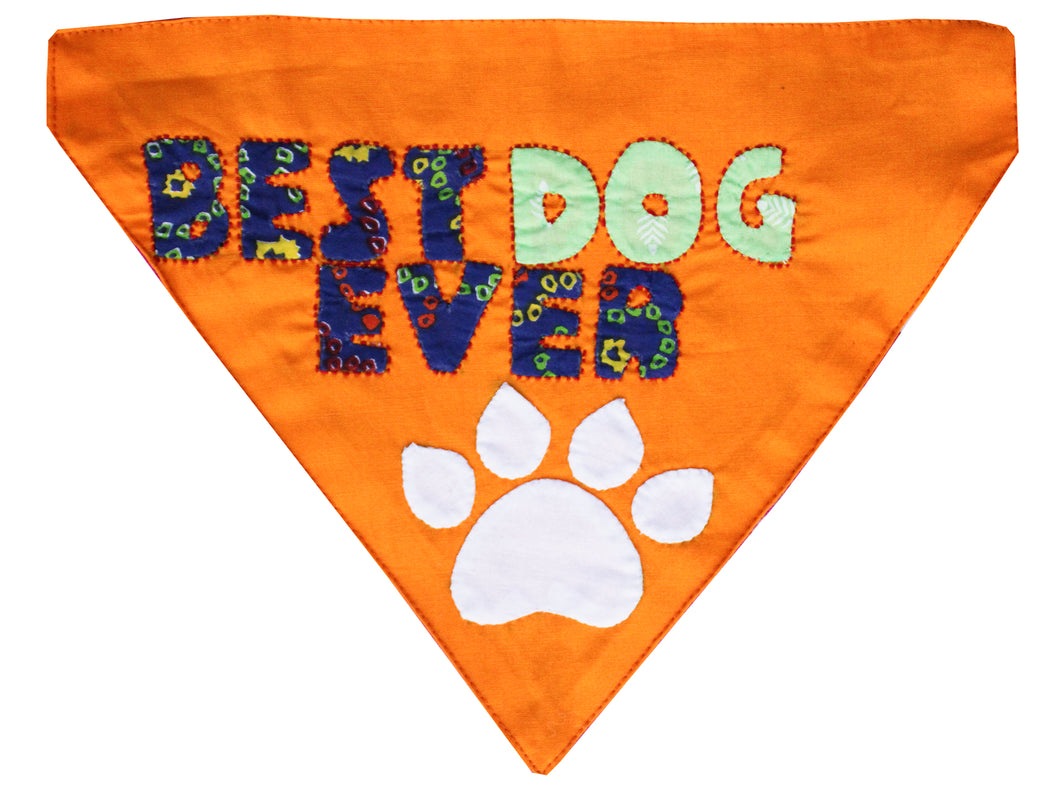 Lana Paws best dog ever handmade dog bandana in orange