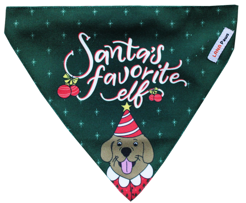 Merry Christmas (Santa's Favourite Elf) - Adjustable Dog Bandana/ Dog Scarf