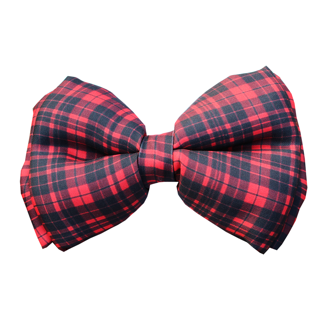 Red winter dog bow tie plaid Lana Paws
